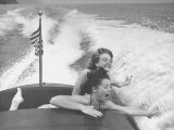 Betty Brooks and Patti McCarty Motor Boating at Catalina Island Premium Photographic Print by Peter Stackpole