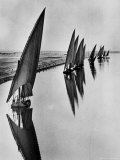 Boats Sailing Along Suez Canal Photographic Print by Alfred Eisenstaedt