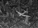 Margaret Bourke-White - Aerial View of a DC-4 Passenger Plane Flying over Midtown Manhattan Fotografická reprodukce
