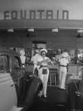 Carhops Busy with Orders at a Drive in Soda Fountain Premium Photographic Print by Peter Stackpole