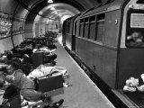 Londoners Sleeping Underground in Subway For Protection During German Bombing Raids Premium Photographic Print by Hans Wild