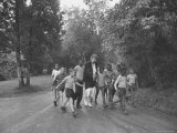 Former First Lady Eleanor Roosevelt Walking on Rustic Road with Children, En Route to Picnic Premium Photographic Print by Martha Holmes