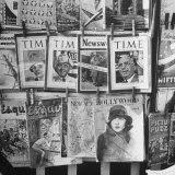 Newsstand Displaying American Magazines Photographic Print by Jack Birns
