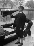 Kent School Headmaster Father Sill Yelling Through Megaphone to Crew Team Photographic Print by Peter Stackpole