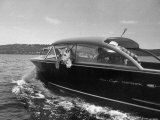 Blondie, the Pet Lion, Fascinated by the Water as She Takes Her First Ride in Chris Craft Motorboat Fotografie-Druck von Joe Scherschel