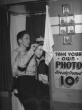 High School Boys Combing Their Hair Before Having Their Picture Taken Premium Photographic Print by William C. Shrout