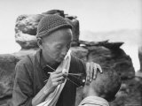 Chinese Man Performing an Acupuncture on a Man's Ear Premium Photographic Print by Carl Mydans