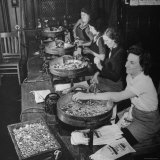 Women Counting and Bagging New Five Cent Coins Photographic Print by William C. Shrout
