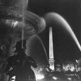 Fountains of Paris Shimmering with Light at Night Photographic Print by David Scherman