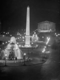 Lights Water Fountains Surrounding the Place de La Concirde Chamber of Deputies Premium Photographic Print by Dmitri Kessel