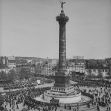 Marchers in May Day Parade Assembling in Place de La Bastille Photographic Print by David Scherman