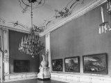 Elaborate Crystal Chandeliers Hanging from Ceilings in Kuntshistoriche Museum Premium Photographic Print by Nat Farbman