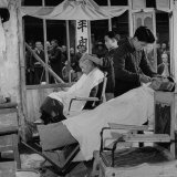 Men Having Head and Face Shaved with Straight Razors in Old Barber Shop Photographic Print by Mark Kauffman