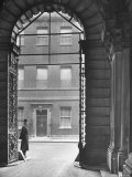 Looking Through Doorway Onto 10 Downing Street, Through Archway Entrance to Foreign Office Premium Photographic Print by Hans Wild