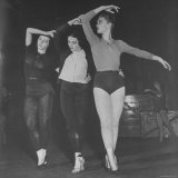 Members of Ballet Russe Limbering Up Before a Performance Backstage Photographic Print by Myron Davis