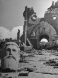 Head of Christ in Front of Destroyed Cathedral 2 Miles from Where the US Dropped an Atomic Bomb Photographic Print by Bernard Hoffman