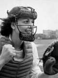 Mary &quot;Binnie&quot; Baker Plays Catcher For All American Girls Baseball League on the South Bend Team Premium Photographic Print by Wallace Kirkland