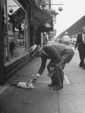 Man Bending over to Touch Cat Sitting on Sidewalk Reproduction photographique par Nina Leen