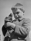 Little Boy with Fish He Caught During Trout Season For Children Premium Photographic Print by Nat Farbman