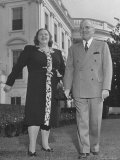 Harry S. Truman Standing Outside White House with Singer Kate Smith Premium Photographic Print by George Skadding