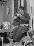 Farmer Eating Noodles at Tea Shop Premium Photographic Print by Mark Kauffman