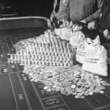 Police Guarding $500,000 in Silver Being Used During a WWII War Bond Rally in a Gambling Casino Photographic Print by John Florea