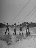 Four People Competing in the National Water Skiing Championship Tournament Photographic Print by Mark Kauffman