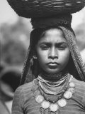 India Native Wearing Traditional Clothing, Carrying Basket on Her Head Premium Photographic Print by Margaret Bourke-White