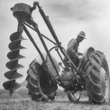 Ford Tractor with Posthole Digger Attachment Photographic Print by Loomis Dean