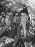 GI and a Japanese Girl Eating Apples in the Park Premium Photographic Print by John Florea