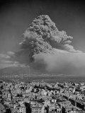 Lava Dust from Eruption of Mount Vesuvius Spiraling Above Naples Premium Photographic Print