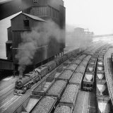 Overhead View of Rows of Hitched Coal Cars at Plant Photographic Print by Herbert Gehr