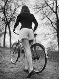 Bicycle Being Pushed by a Typical American Girl Premium Photographic Print by Nina Leen