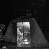 Physicist Spending the Night Watching His Instruments Record Cosmic Rays in an Outdoor Laboratory Photographic Print by John Florea