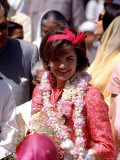 First Lady Jackie Kennedy Arriving at the Jaipur Airport During Her Tour of India Premium Photographic Print by Art Rickerby