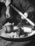 Customer Smoking Opium at an Opium Den Premium Photographic Print by George Lacks