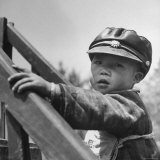 Kindergarten Boy Wearing a Kuomintang Leather Cap Photographic Print by Mark Kauffman