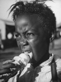 Boy Eating Ice Cream at the Kentucky State Fair Premium Photographic Print by Ed Clark