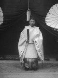 High Priest Matsutaro Suzuki Standing Outside Inari Shrine Premium Photographic Print by Dmitri Kessel
