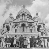 American Travelers Pausing on the Steps of the Sacre Coeur Church to View It's Beauty Photographic Print by Yale Joel