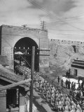 Communist Soldiers Marching Through Gates of Great Wall Premium Photographic Print by George Lacks