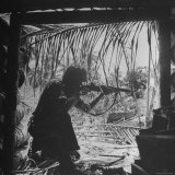 Marine in Action During Fight to Take Bougainville in Solomon Islands During WWII Photographic Print by William C. Shrout