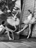 Denise Bourgeois and Claude Bessy Taking a Breather in Front of a Degas Background Photographic Print by Walter Sanders