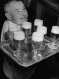 Glasses of Beer Being Served Onboard Oceanliner Photographic Print by Sam Shere