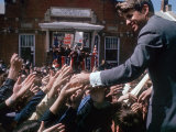 Democratic Presidential Contender Bobby Kennedy Shaking Hands in Crowd During Campaign Event Photographic Print by Bill Eppridge