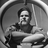 "Member of Crew of the Lightship ""Nantucket"" Smoking a Pipe on Deck Photographic Print by Sam Shere"