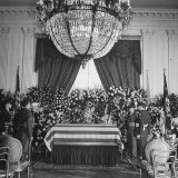 Casket of President Franklin D. Roosevelt Lying in State in the East Room of the White House Photographic Print by George Skadding