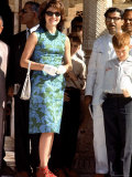 First Lady Jackie Kennedy Wearing Blue Print Dress During Her Tour of India Premium Photographic Print by Art Rickerby