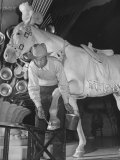 "Groom Putting Silver Paint on Horse's Hooves During Filming of the Movie ""The Ziegfeld Follies"" Premium Photographic Print by John Florea"