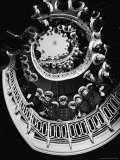 Low Angle of Cadets at Naval Academy Lining Stairway in Maury Hall Photographie par Alfred Eisenstaedt